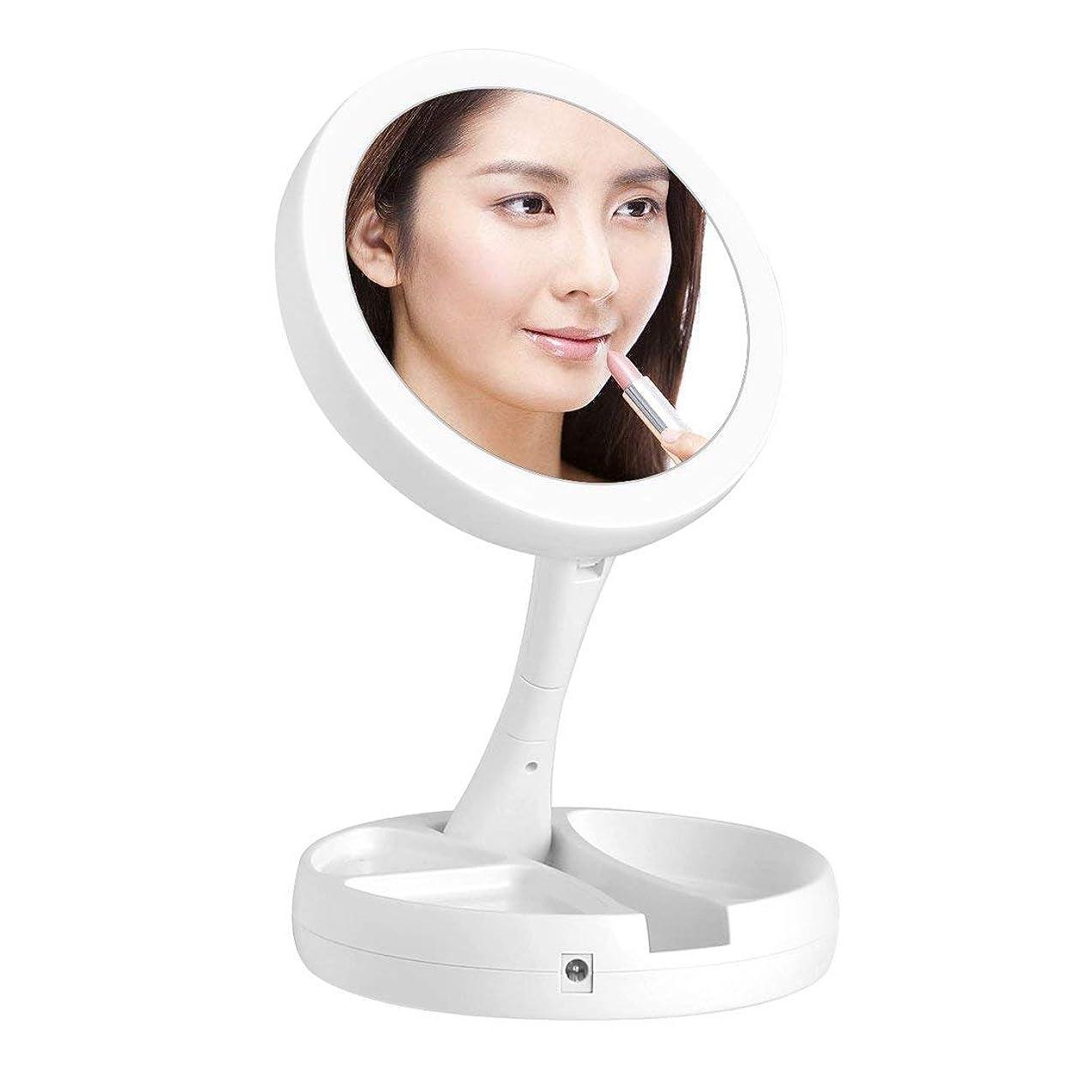 グローしがみつく発明するkamaa化粧鏡 化粧ミラー 女優ミラー LED両面鏡 鏡 10倍拡大鏡付き 折り畳み式 卓上 テーブルランプUSB/電池給電 180°回転