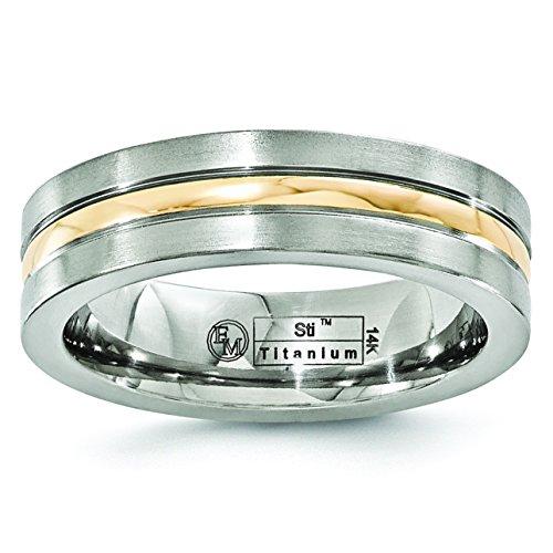 Alianza de boda de titanio y oro amarillo de 14 quilates cepillado...
