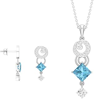 Princess Cut 2.30 Carat Aquamarine Jewelry Sets, Moissanite Drop Earrings, Diamond Cluster Pendant Necklace, Birthstone Ne...
