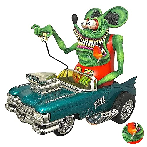 N A Angry Big Mouth Monster Statue on Car Big Mouth Monster Driving Statue Rat Fink Legend Collectible Model Toy for Halloween Monster Statue Resin Decorations (A)