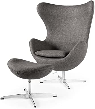Kardiel Egg Chair & Ottoman, Cadet Grey Tweed Cashmere Wool