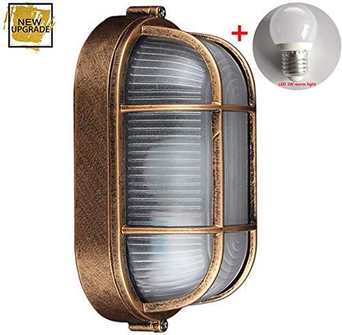 GYYlucky antieke industriële wandlamp, ovale maritieme lamp scheepslamp, buitenwandlamp industriële verlichting outdoor tuin huisdeur rooster lamp E27