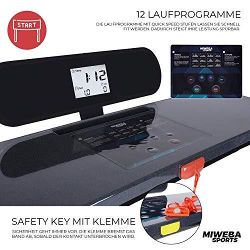 Miweba Sports elektrisches Laufband HT500 – Klappbar – 0,75 Ps – 14 Km/h – 12 Laufprogramme – Tablet Halterung – Große Lauffläche - 3