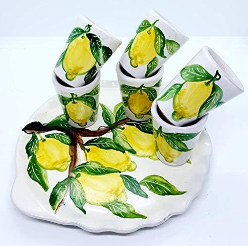 Vassoio Ceramica 6 bicchierini limoncello Linea Limoni Handmade Le Ceramiche del Castello Made in Italy