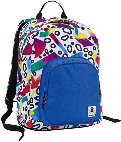 ZAINO INVICTA - OLLIE PACK - Roots Bianco Blue - tasca porta pc padded - scuola e tempo libero americano 25 LT