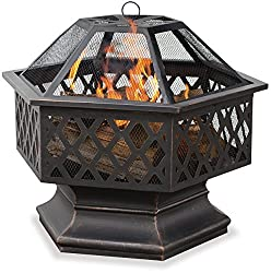 small Endless Summer, WAD1377SP, Hexagonal Outdoor Fire Bowl with Grill, Oiled Bronze