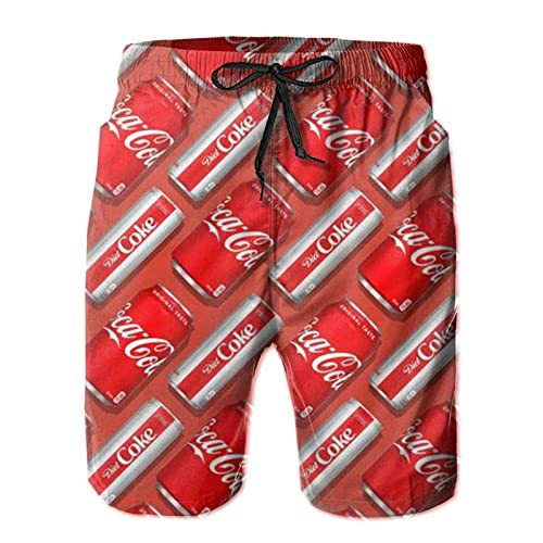 N \ A Soft Drink Red Coke Art Herren Sommer Surf Badehose Quick Dry Beach Board Shorts Bademode, mehrfarbig, S 7-9