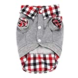 Voberry Dog Cat Grid Sweater Puppy Warm T-Shirt Pet Clothes Polo Shirt Dog Coat (S, Gray)