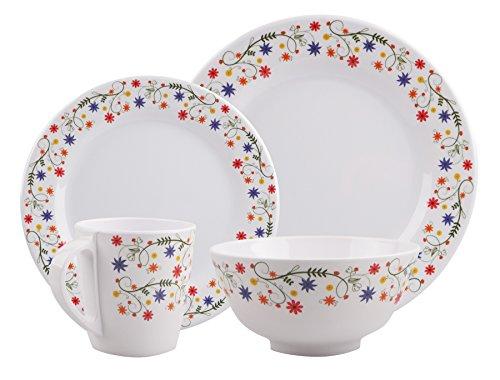 HEKERS 100% mélamine Vaisselle Flower rond - Set de 16 pièces 4 personnes - outdoor, pique-nique, camping, lavable au lave-vaisselle…