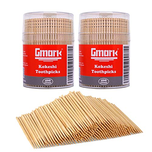 Gmark Wooden Toothpicks 800 Pieces Kokeshi Style Cocktail Safe Use Sturdy Round Holder 2 Packs of 400 26quot Kokeshi Toothpicks  Japanese Style Party Appetizer Olive Fruit Teeth Cleaning GM1068