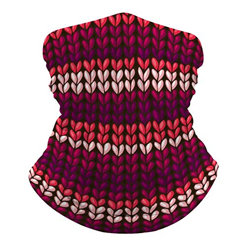 Pañuelo multifuncional unisex con patrón elástico, transpirable, para deportes, con resistencia a los rayos UV, diseño de colores rojo, rosa y morado