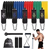 CCVOO Resistance Bands Set, Exercise Bands with Handles - 5 Fitness Workout Bands with Door Anchor & Ankle Straps for Training, Physical Therapy, Home Workout, Yoga, Pilates (100LBs)