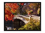 GLITZFAS Bow Bridge in Autumn - Art Print Wall Art Canvas Stretched with Black Wooden Frame - Ready to Hang - 24x16 Inches