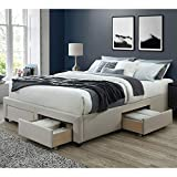 DG Casa Cosmo Upholstered Platform Bed Frame Base with Storage Drawers, Queen Size in Beige Linen Style Fabric