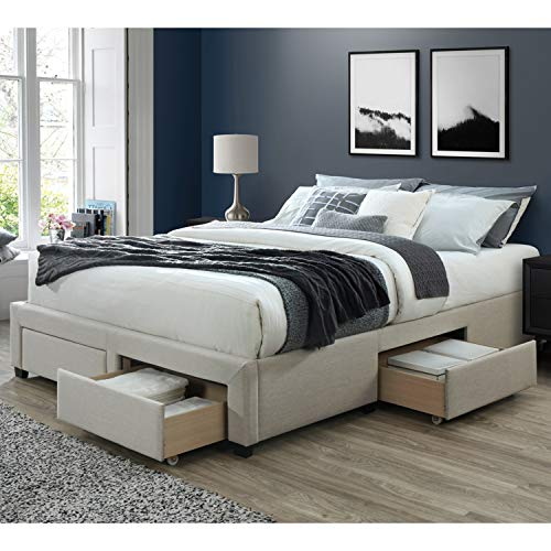 DG Casa Cosmo Upholstered Platform Bed Frame Base with Storage Drawers review