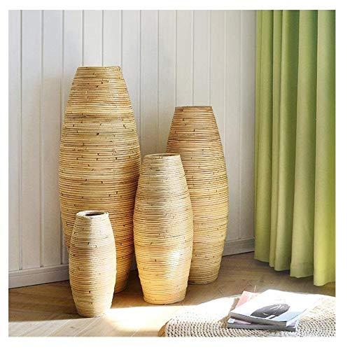 Ykun Vaso in Rattan Naturale/Vaso in Rattan/Vaso da Terra/Vaso da Soggiorno con Decorazione per finestre-Vaso Altezza 100 cm
