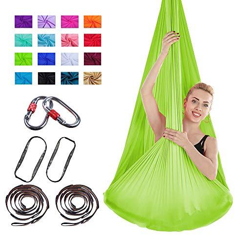Viktion Authentische 4m*2.8m Anti-Gravity-Yoga Set Aerial Yoga Tuch Hängematte Keine Nähte Aerial Yoga Tuch (Grün)