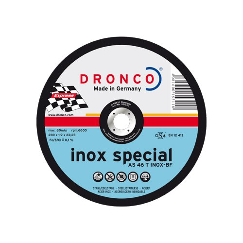 DRONCO AS46TINOX-230PACKPLUS - Lata sellada de 10 discos de corte metal 230 x 1,9 mm AS 60 T INOX Special Express LIFETIME PLUS