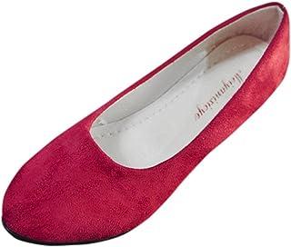 Flats Shoes for Women,WEUIE Women's Ballet Comfort Light Faux Suede Multi Color Slip On Pumps Loafers Shoes