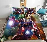 Juego de ropa de cama con funda de edredón y funda de almohada impresos en 3D de Marvel Avengers,decoración de dormitorio,regalos de cumpleaños para niños y adolescentes,niños y niñas-220x260(3pcs)5