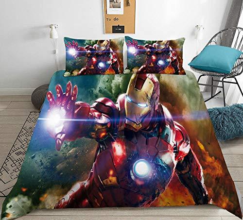KIrSv Avengers Funda de edredón y Funda de Almohada con patrón de impresión 3D,Juego de Cama de superhéroe para Adolescentes,Adecuado para decoración de Dormitorio de niños y niñas,7_220x240cm(3pcs)