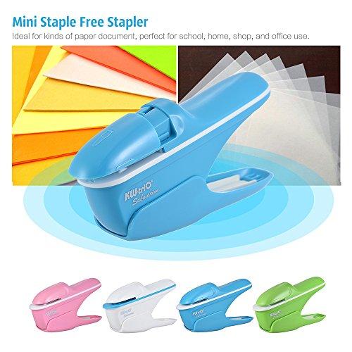 Aibecy heftklammerfreies Mini-Heftgerät, heftet bis zu 7Blatt ohne Heftklammern zusammen, für Arbeit, Geschäft, Schule, Büro - 3