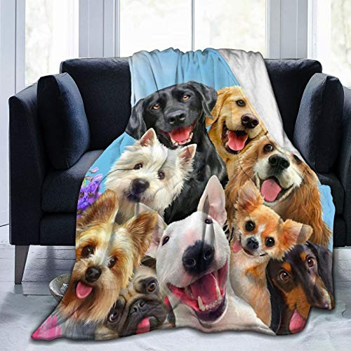 96hh Dog Selfie Flannel fleece blanket throw- 60'x50' Size Ultra-Soft Velvet Plush Throw Blanket Gifts