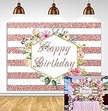 Fondo de cumpleaños de oro rosa, fondo de fotografía de rayas de flores rosadas, Banner de decoración de fiesta para mujeres gril
