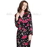 Handaxian Conjunto de Pijamas de satén de Seda para Mujer Pijamas Conjunto de Pijamas de Ropa Casual Clásico Negro XXXL