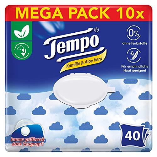 Tempo Feuchte Toilettentücher sanft und sensitiv, parfüm: Kamille und Aloe Vera, Feuchttücher im wiederverschließbaren Komfortbeutel, 10 x 40 Tücher (400 Tücher)