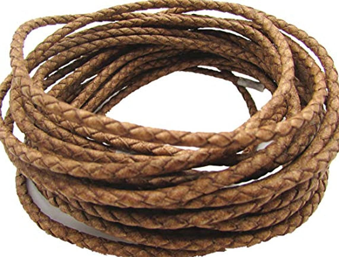 3mm Round Folded Genuine Leather Cords for Bracelet Necklace Jewelry Making 5 Meters (Natural)