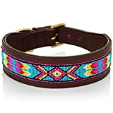 Paw Pals Pets Handmade Leather Beaded Aztec Dog Collar. Beautiful Genuine Leather, Unique Beading, Sturdy Brass Buckle, Durable for Show & Everyday, Dog Collar for Medium Dogs, XS,S,M,L,XL