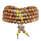 Pulsera o collar para hombre y mujer al estilo budista tibetano, perlas de madera...