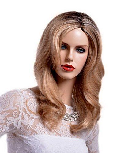 A.Monamour Racine Foncée Longue Blonde Ondulée Ondée Couche De Cheveux Perruque Pleine Synthèse Épaisse