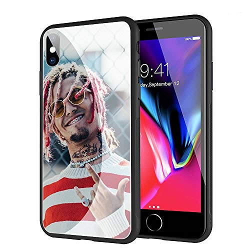 GUOZHAO Phone Case iPhone XR,GZA-46 Lil Pump Tempered Glass Back Black Cover and Soft Silicone Rubber Bumper Frame for Scratch-Resistant and Anti-Scratch Absorption