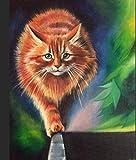 shuodade Dipingere i Kit di Numeri per Adulti e Bambini Fai da Te Pittura ad Olio Digitale Carino Arancione Gatto Gatto Tela Arte Muro Arte