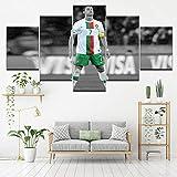 Angle&H 5 Piezas Modular Futbolín Mural Cristiano Ronaldo Cartel de Fondos de Pantalla Casa Sala de Niños Decoración Lona Impreso Pintura,B,25x40x2+25x60x1+25x50x2