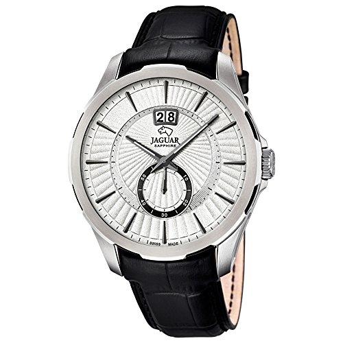 JAGUAR Herren-Armbanduhr Elegant analog Leder-Armband schwarz Quarz-Uhr Ziffernblatt silber UJ682/1