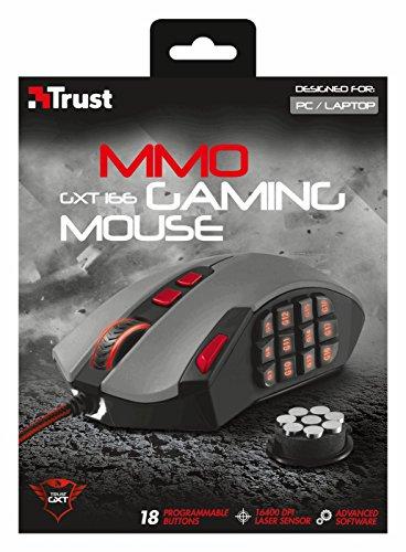 Trust GXT 166 MMO Laser-Gaming-Maus schwarz (16400 DPI Laser Sensor, 18 programmierbare Tasten, Onboard-Speicher)