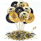 APERIL 50 Globos de Cumpleaños Negro Oro, 30 Piezas Globos Dorados Metalizados Globos Negros Globos de Confeti e 20g Confeti de Número 50 para 50 cumpleaños Hombre Mujer Aniversario Fiestas