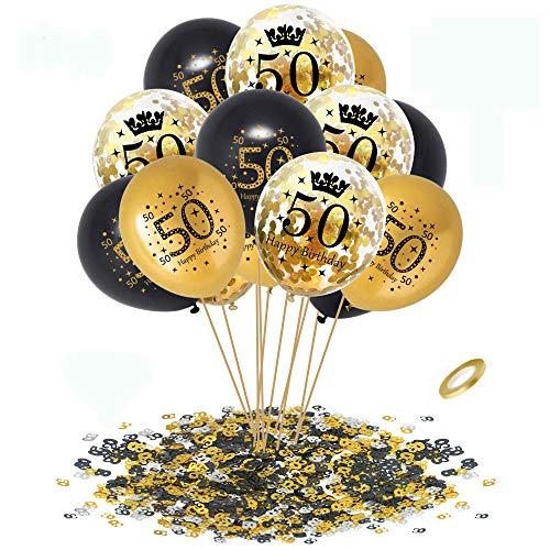 APERIL 50 Anni Palloncini Compleanno Oro Nero Palloncini di Coriandoli e 20g 50°Compleanno Coriandoli, Decorazioni per Feste per Adulti Uomo Donna Anniversario Matrimonio