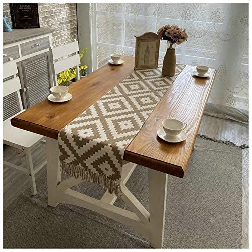 Cozomiz Leinen Geometrisch Tischläufer mit Quaste Esstisch Flaggen Restaurant Stickerei Tischläufer Dekoriert Hochzeit Tischband Tischdekoration 32x270cm Braun