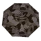 Paraguas plegable militar, camuflaje, color marrón, de caza, con cierre abierto, resistente al viento, ligero, compacto para exteriores, sol y lluvia
