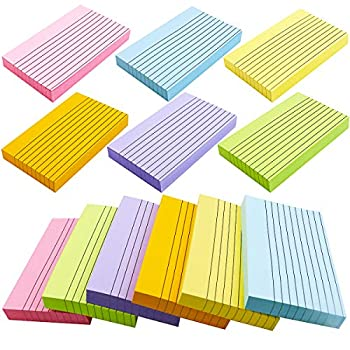 BIGNC 600 Sheets Index Cards 3 x 5 Inch Ruled Color Cards Note Cards for School Home & Office 6 Colors