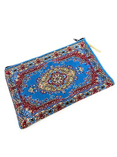 Geldbörse Beutel Münzbeutel Orientalisch Portemonnaie Geldbeutel Damen Stoffbeutel mit Reißverschluss Handarbeit Bestickt Multifunktional Tasche Mini ca. 14 x 21 cm - L (Himmelblau)