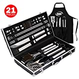 Kaluns Grill Accessories, Grill Set, 21 Piece Grilling Utensil Set, Heavy Duty Stainless Steel BBQ Tools Professional Grilling Accessories
