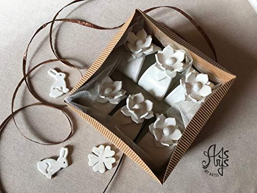 porta tovagliolo, set portatovaglioli personalizzati fatti a mano in ceramica bianca artigianale artistica