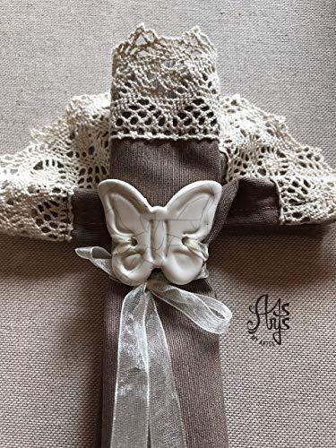 porta tovagliolo farfalla piccola, portatovaglioli personalizzati fatti a mano in ceramica bianca artigianale artistica