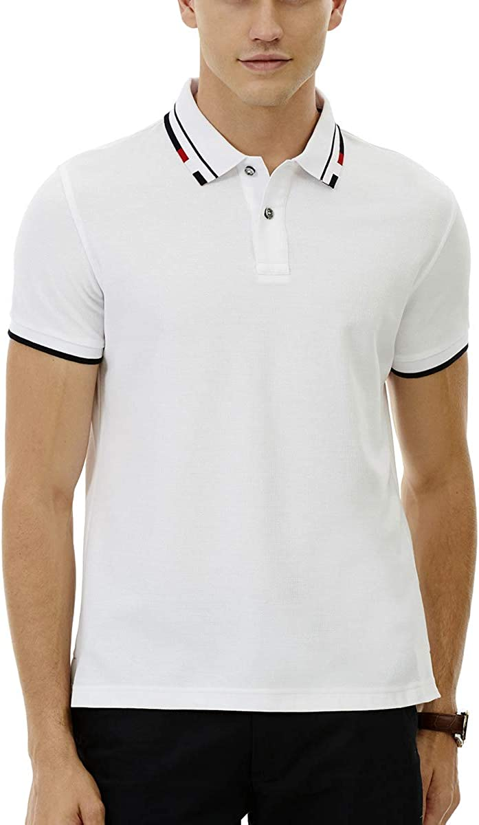 Men's Mesh Striped Collar Short Sleeve Classic Fit Cotton Twin Tipped Polo Shirt