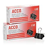 ACCO Binder Clips, Medium, Black, 12 per Box, 2 Boxes (72062)